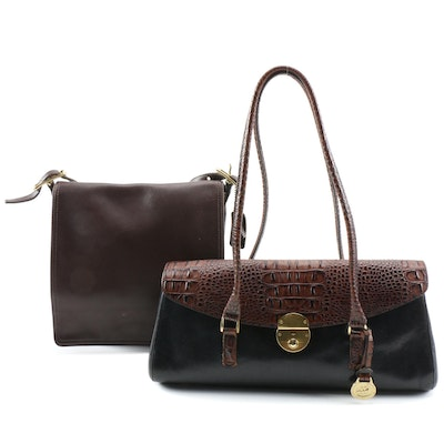 Coach Monterey Leather Shoulder Bag and Brahmin Two-Tone Embossed Satchel
