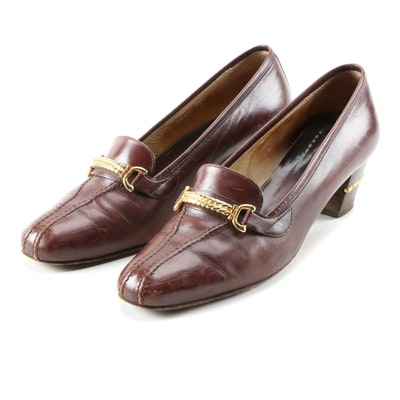 Gucci Stitched Vamp Heeled Loafers in Brown Leather with Gold Tone Hardware