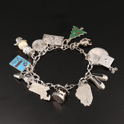 Vintage Sterling Silver Enamel Charm Bracelet Featuring Travel Theme