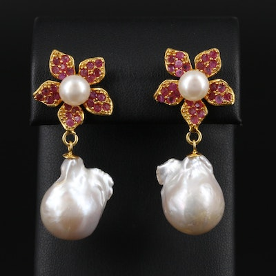 Sterling Silver Ruby and Cultured Pearl Floral Earrings