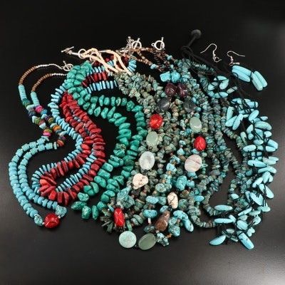 Coral, Turquoise, and Jasper Bead Necklaces