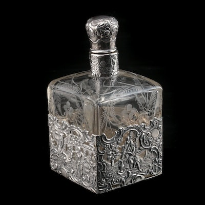 Mauser Mfg. Co. Sterling Silver Overlay on Etched Glass Decanter, Early 20th C.