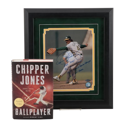 Chipper Jones and Dennis Eckersley Signed Baseball Book and Photo Print