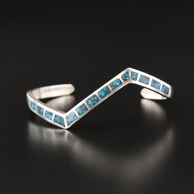 Southwestern Style Sterling Silver Turquoise Inlay Cuff