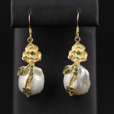 Sterling Silver Emerald and Cultured Pearl Floral Earrings