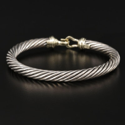 David Yurman Sterling Silver and 14K Gold Cable Bracelet with Hook