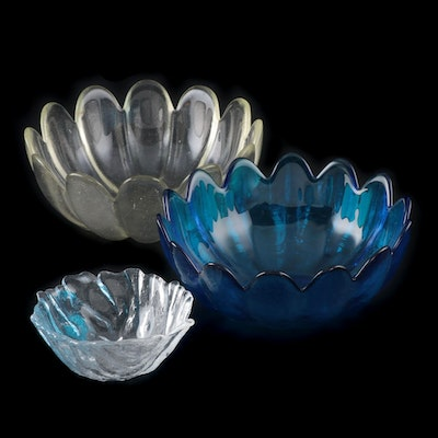"Blenko Hand Blown Cobalt Blue and Clear ""Lotus Petal"" Bowls, 1960-1970"