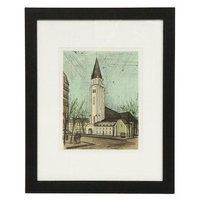 "Color Lithograph after Bernard Buffet ""Saint-Germain-des-Pres,"" 1967"
