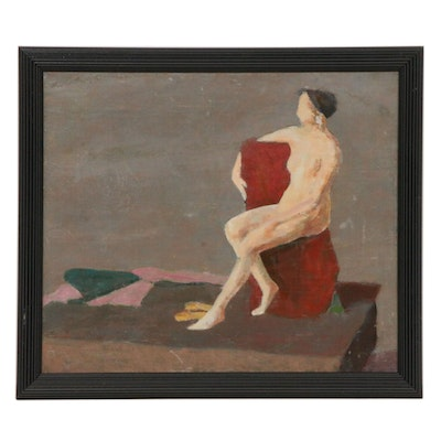 Mid-20th Century Female Nude Figure Oil Painting