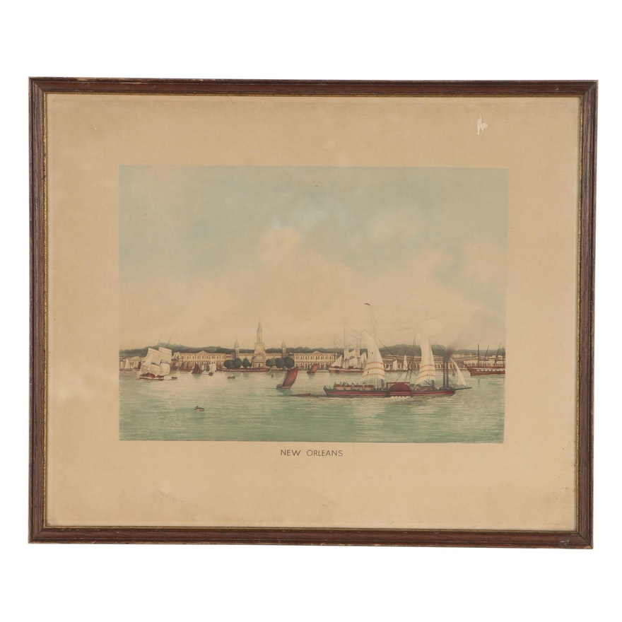 "Hand-Colored Lithograph ""New Orleans"", Late 19th Century"