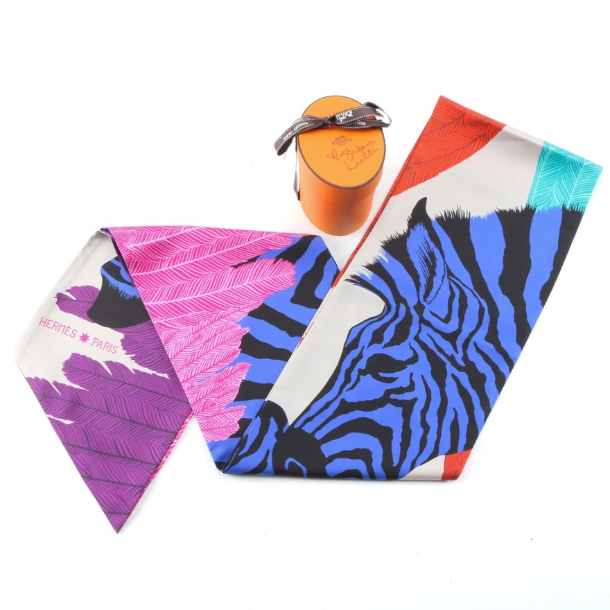 "Hermès ""Zebra Pegasus"" Maxi Twilly Silk Scarf with Susan Lucci Signed Box"