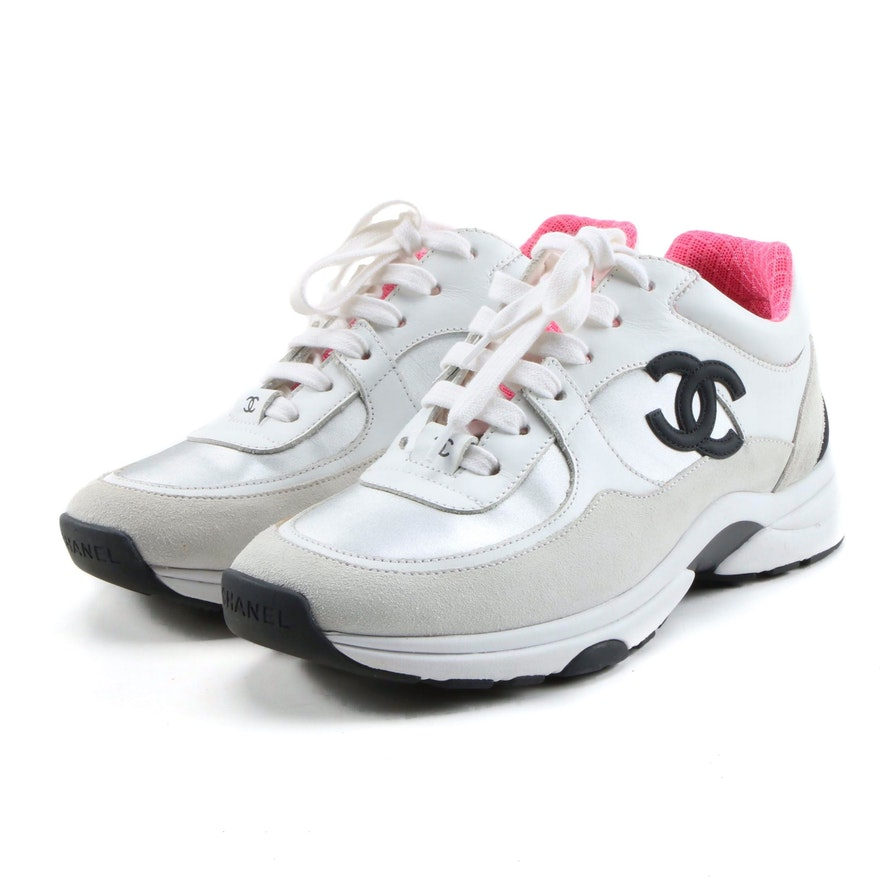 Chanel CC Logo Calfskin Leather and Suede Sneakers