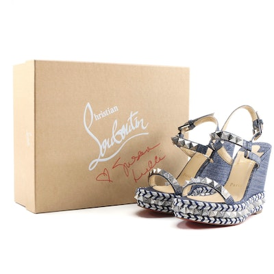 Christian Louboutin Pyraclou Lame Lux Denim Espadrille Sandals with Signed Box