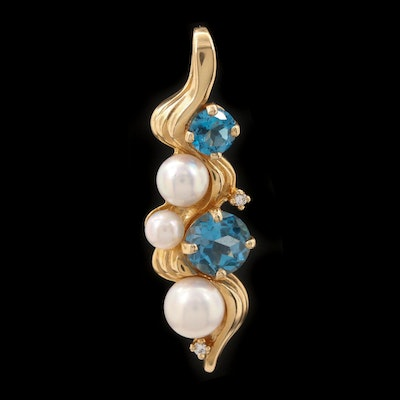 14K Yellow Gold Cultured Pearl, Blue Topaz and Diamond Pendant