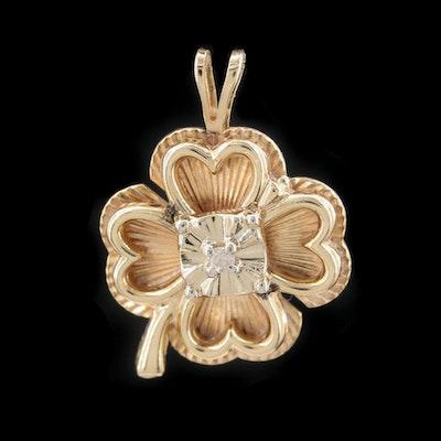 14K Yellow Gold Diamond Four Leaf Clover Pendant
