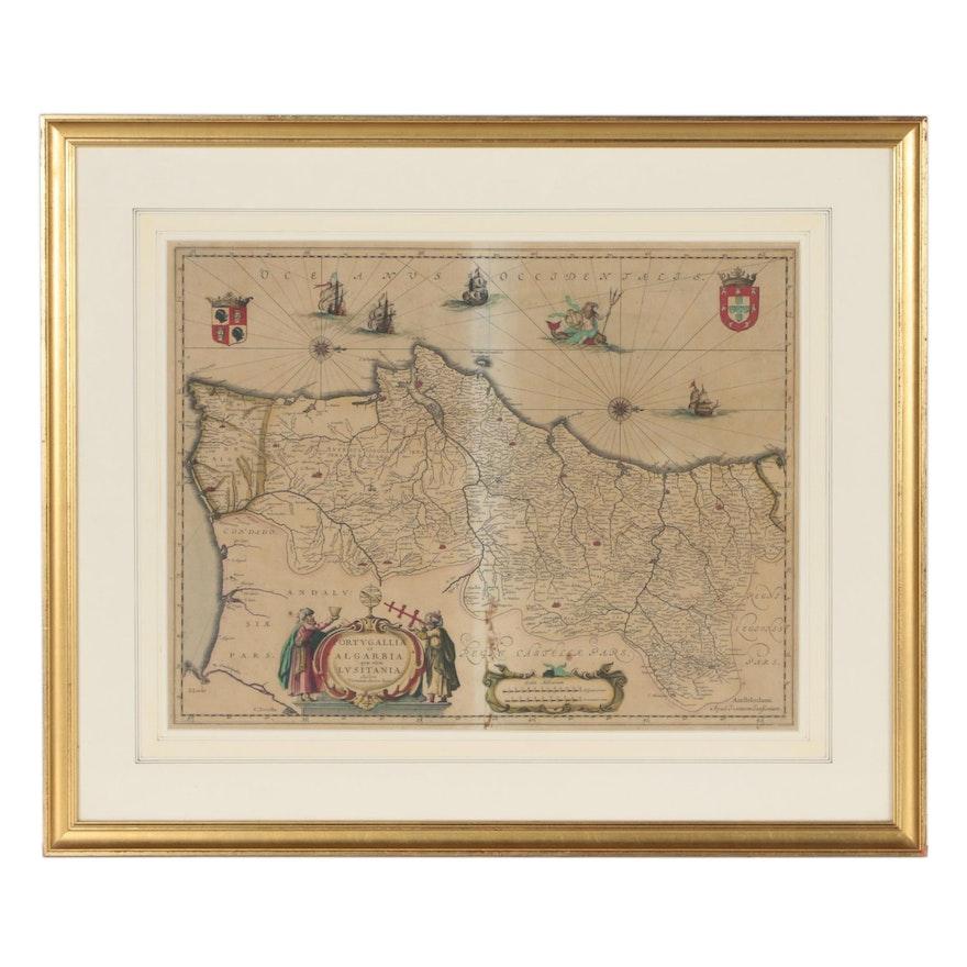 """Jan Jansson Atlas Map """"Portugallia et Algarbia quæ olim Lusitania"""", circa 1660"""