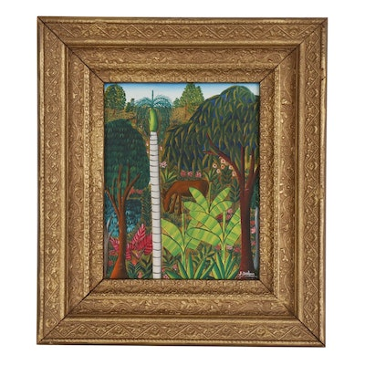 J. Dubic Jungle Scene Acrylic Painting