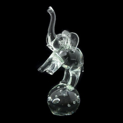 Licio Zanetti Murano Glass Elephant Sculpture, Mid to Late 20th Century