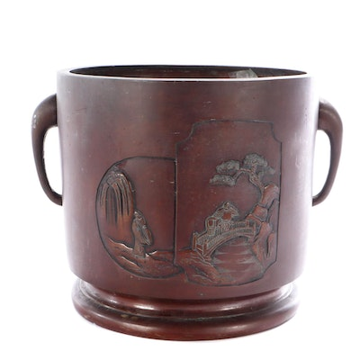 Japanese Bronze Patinated Metal Planter with Landscape Scene, Meiji Period