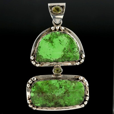 Signed Southwestern Style Sterling Silver Gaspeite and Peridot Pendant