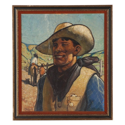 Hernando Villa Portrait Oil Illustration of Cowboy