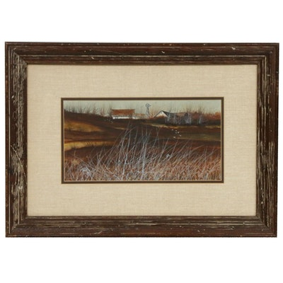John Tracy II Farm Scene Watercolor Painting