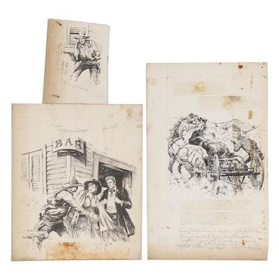 Lorence F. Bjorklund Ink Illustrations of Western Scenes