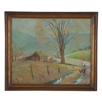 "Pastoral Landscape Oil Painting ""Early Spring"", 1970"