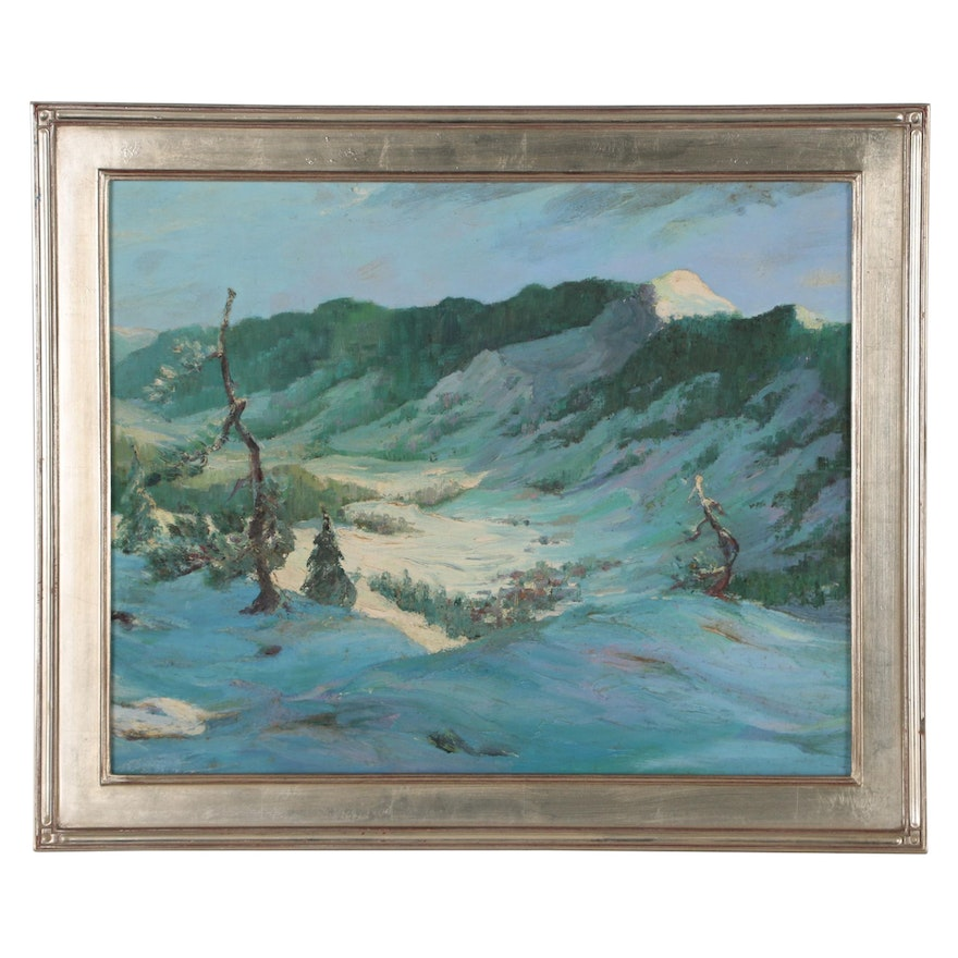 "Landscape Oil Painting ""White Rock Mountain"", Mid 20th Century"