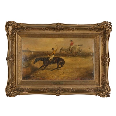 Oil Painting of Steeplechase Horse Race, 19th Century