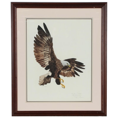 Attributed to Jack Williamson Watercolor Painting of American Bald Eagle, 1976