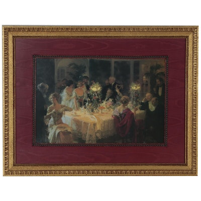 "Offset Lithograph after Jules Alexandre Grun ""The End of Dinner"""