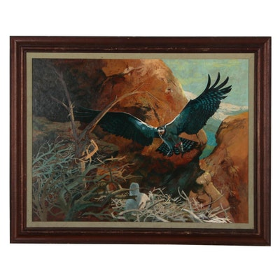 Michael Casad Oil Painting of Eagle in Flight in Mountain Landscape, 1981