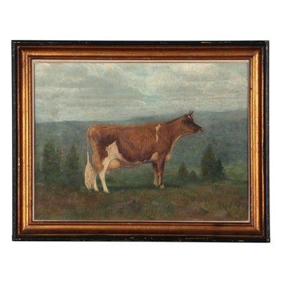Cow Portrait Oil Painting, 20th Century