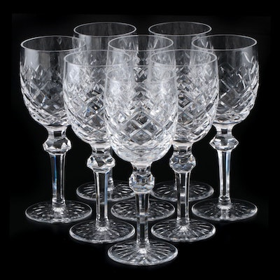 "Waterford Crystal ""Powerscourt"" Claret Wine Glasses, 1969- 2017"