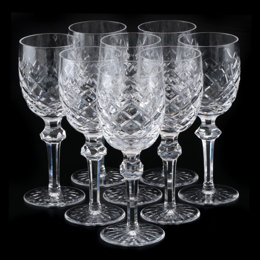 "Waterford Crystal ""Powerscourt"" Claret Wine Glasses, 1969- 2017"