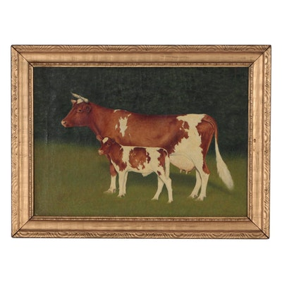 W.H. Thomas Folk Style Oil Painting of Cow and Calf