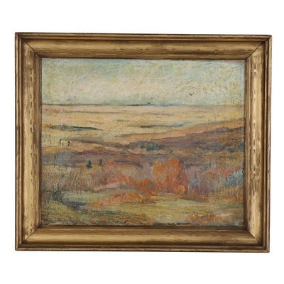 "Alice Craig Landscape Oil Painting ""Autumn"", Early 20th Century"