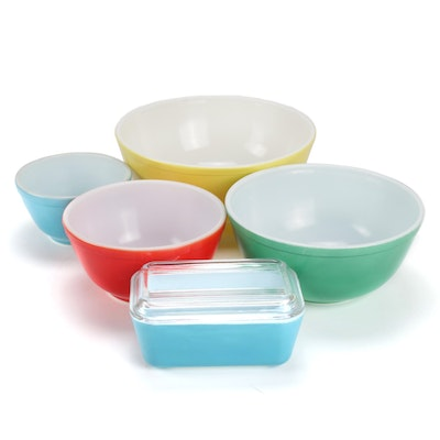 Pyrex Primary Colors Nesting Bowl Set and Lidded Refrigerator Dish, 1940s