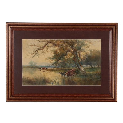 Hugo Anton Fisher Watercolor Painting of Pastoral Landscape with Cattle