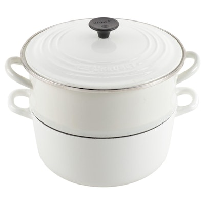 Le Creuset Enamel White 3.5 Quart Dutch Oven with Matching Steamer Insert