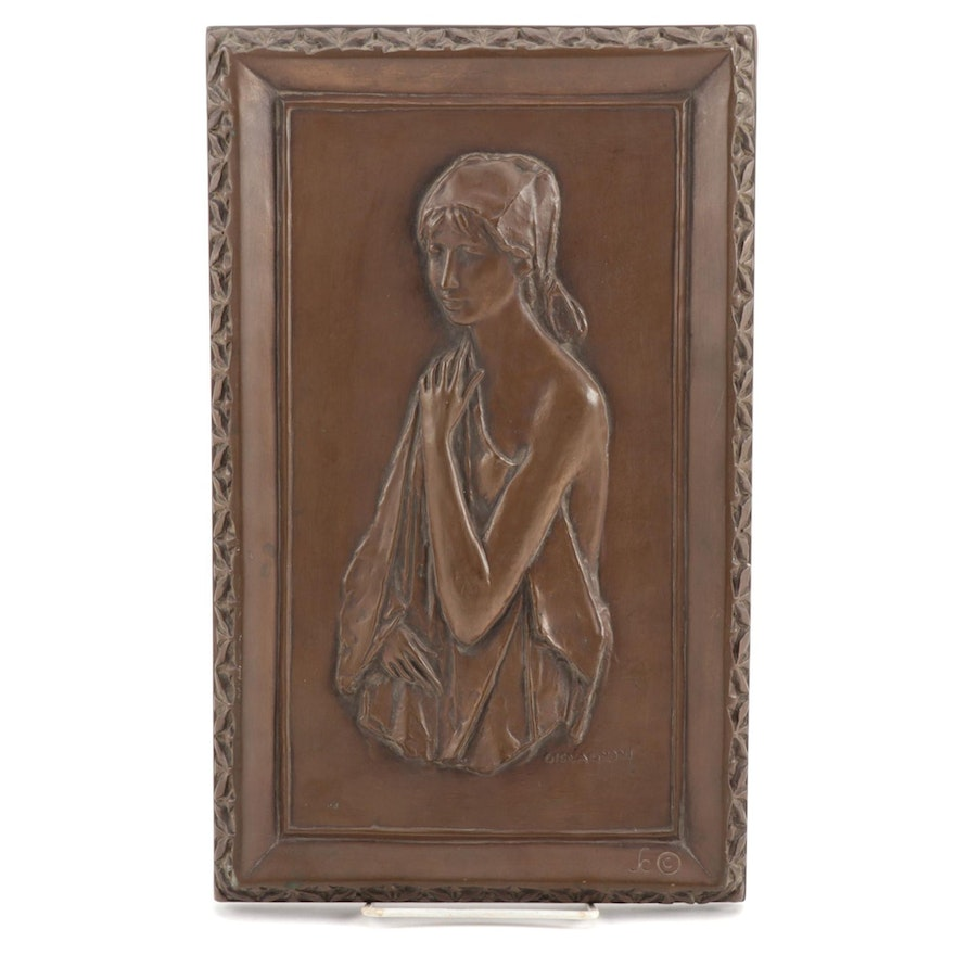 "Art Deco Cold Cast Bronze Wall Plaque after Giovagnoni ""La Bella"""