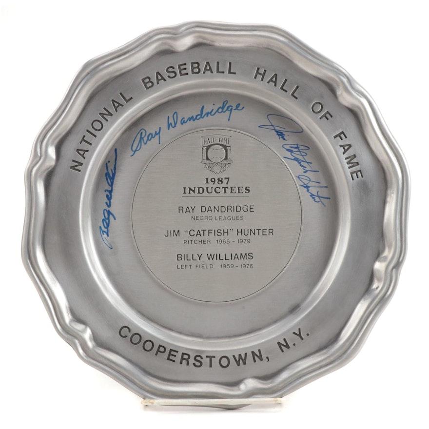 "1987 Jim Hunter, Ray Dandridge, and Billy Williams Signed ""HOF"" Plate, JSA COA"