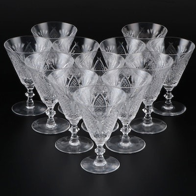 "Waterford ""Dunmore"" Crystal Claret Wine Glasses, Late 20th Century"