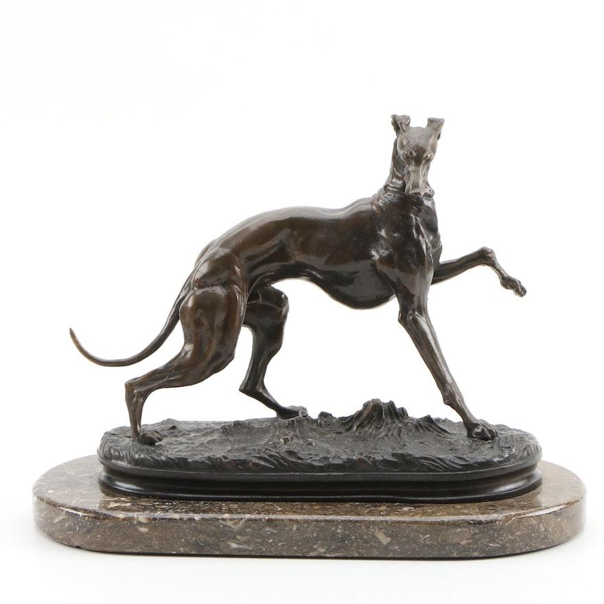 After Pierre Jules Mene Bronze Sculpture of Whippet Dog