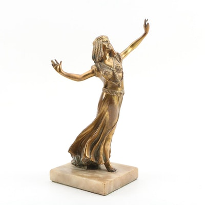 Spelter Sculpture of Egyptian Style Female Figure, Early 20th Century