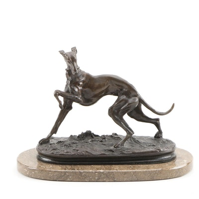 After Pierre Jules Mene Bronze Sculpture of Whippet Dog