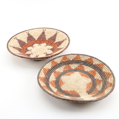 Southwestern Native American Style Coiled Basketry Bowls