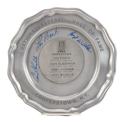 """Lou Brock, Enos Slaughter, and Hoyt Wilhelm Signed 1985 """"HOF"""" Pewter Plate, JSA"""