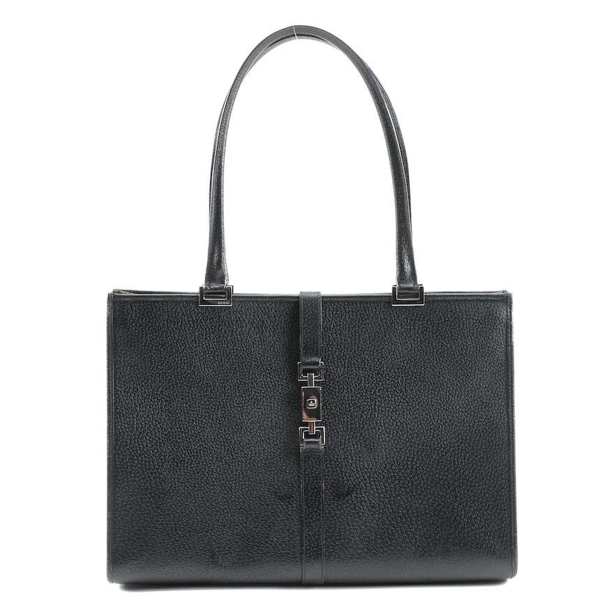 Gucci Black Leather Tote with Piston Lock Closure
